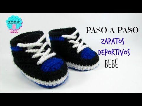 Tutorial zapatos deportivos para bebé a crochet - YouTube