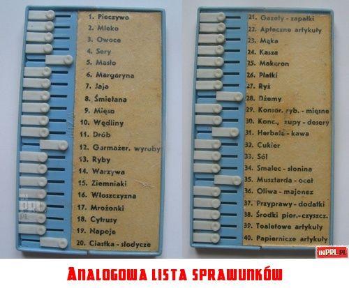Analogowa lista sprawunków