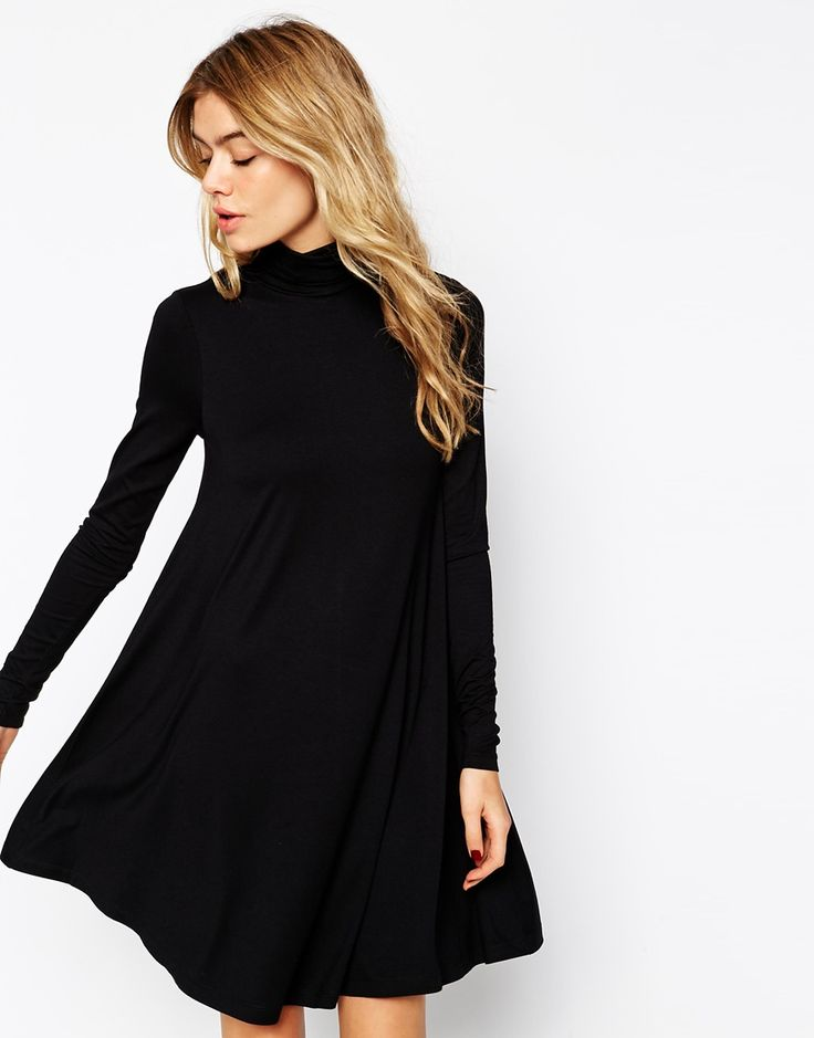 This has such nice movement to it. A very pretty #LBD (little black dress)... ASOS Swing Dress with Polo Neck and Long Sleeves #fashion #style
