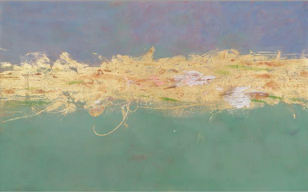 Sei Arimori Works 2008. Stream, tempera on canvas, gold leaf.