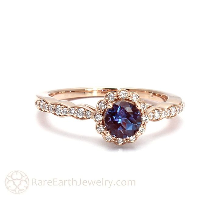 Rare Earth Jewelry Alexandrite Ring Diamond Halo and Scalloped Band 14K Rose Gold Vintage Setting