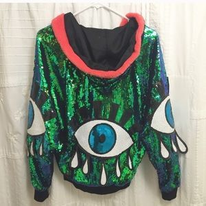 discount universe Jackets & Blazers - Third Eye Sequin Festival Jacket