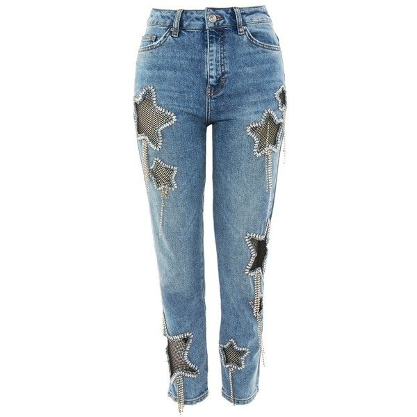 Women's Topshop Bleach Diamante Star Jeans ($240) ❤ liked on Polyvore featuring jeans, faded blue jeans, studded jeans, faded jeans, stone jeans and diamante jeans
