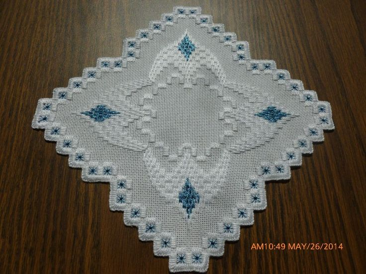 Blue Diamonds - Hardanger Doily