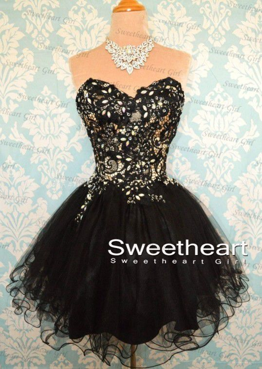 Black Ball Gowns Short Lace Prom Dresses, Lace Bridesmaid Dresses