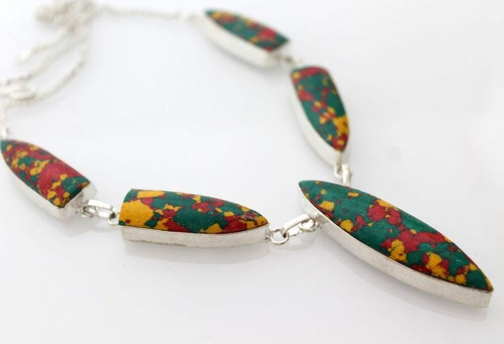 AWESOME COPPER TURQUOISE FANCY SHAPE 925 STERLING SILVER NECKLACE FOR TEENS WEAR #925silverpalace