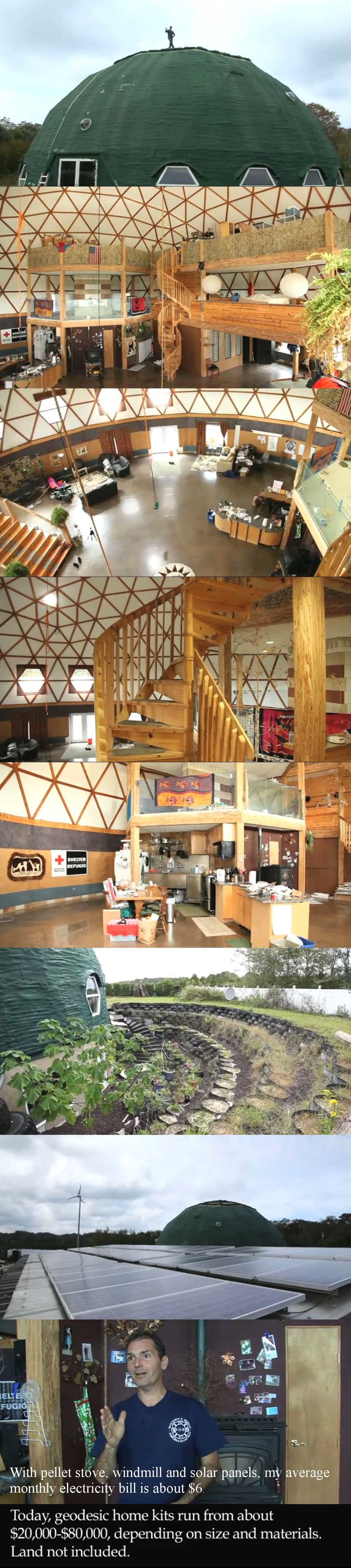 Wonderful example of a classy, energy efficient geodesic dome-home. Great  video found