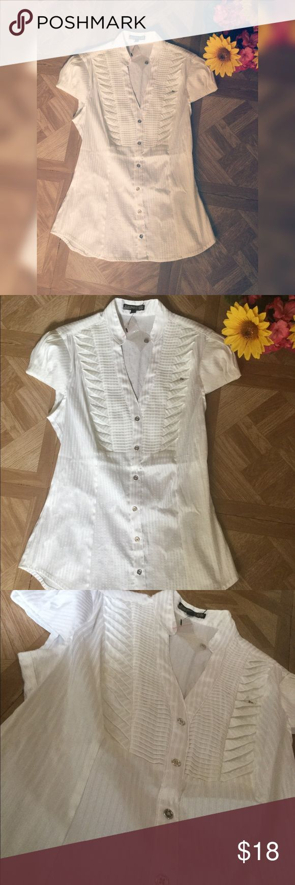 Express White Blouse -New and in good condition  - cannot be un buttoned - has a small zipper on side  - Rare - price final Express Tops Blouses