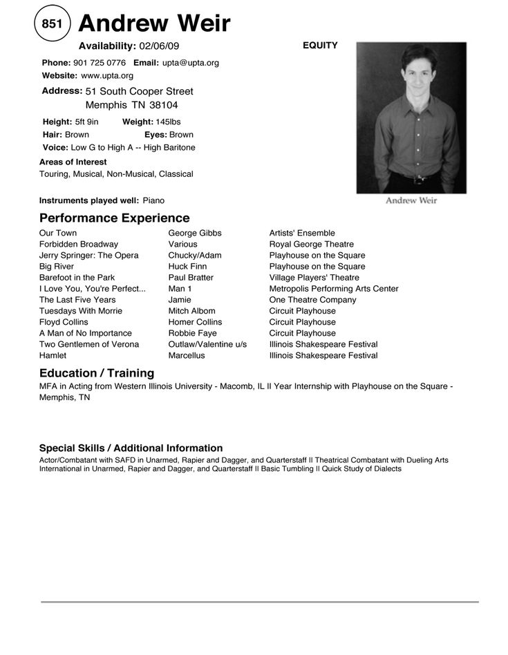 acting resume template sample