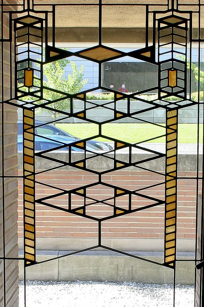 Stained glass window. Frederick C. Robie House. 1909. Hyde Park, Chicago, Illinois. Prairie Style. Frank Lloyd Wright.