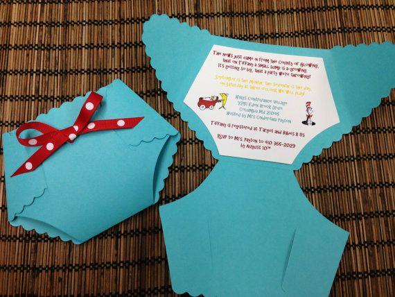 Dr Seuss Diaper Baby Shower Invitations