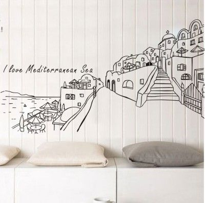 Free Shipping Wholesale and Retail Large town Mediterranean Style Wall Stickers Wall Decals Decal Home Decor