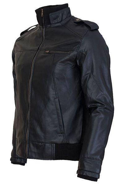 Arnault Black leather bomber jacket
