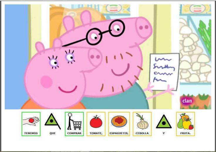 """MATERIALES DE COMUNICACIÓN AUMENTATIVA """"Nos vamos a la compra"""", cuento de Peppa Pig, adaptado con pictogramas."""