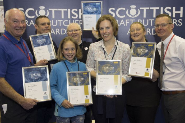 Bels Butcher in Edzell and Montrose receive their awards, pictured from left, Tom Lawn of Scobies Direct, Joe Murray, Flossie Forbes, John Milne, Bel Forbes, Judith Johnston from Lucas and Archie Hall from Dalziel.