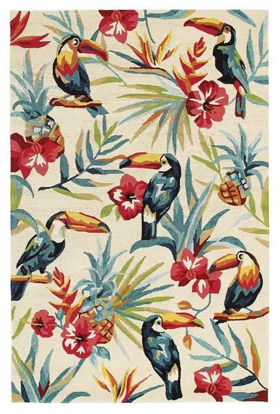 Do your outdoor areas need a lift? Our new Florence Indoor / Outdoor rug range are perfect for adding that extra stylish touch to your outdoor areas. You can also use them inside if you like. This one is our Florence 1535 White Multi Coloured Toucan Birds Floral Patterned Outdoor Modern Rug: