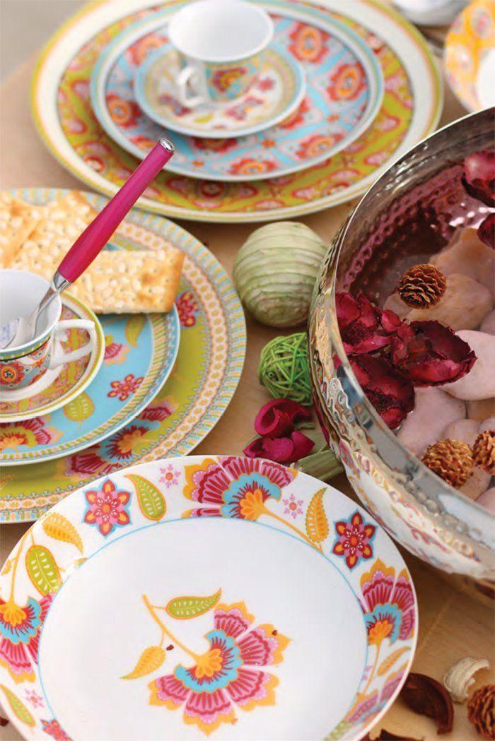 Villa d'Este Oriental Dinner Service Plates Porcelain Set of 18 Multicoloured: Amazon.co.uk: Kitchen & Home