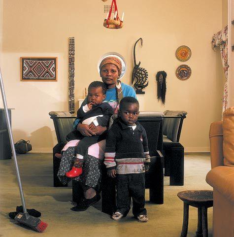 Photograph of Victoria Cobokana with children David Goldblatt