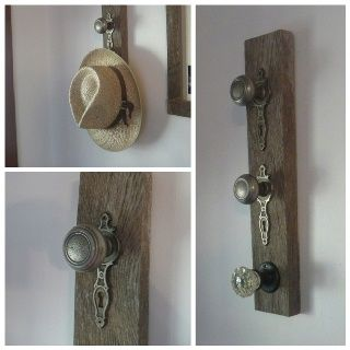 old barn wood ideas   Ideas / Doorknob hat hanger with old barn wood.. I LOVE this idea ...