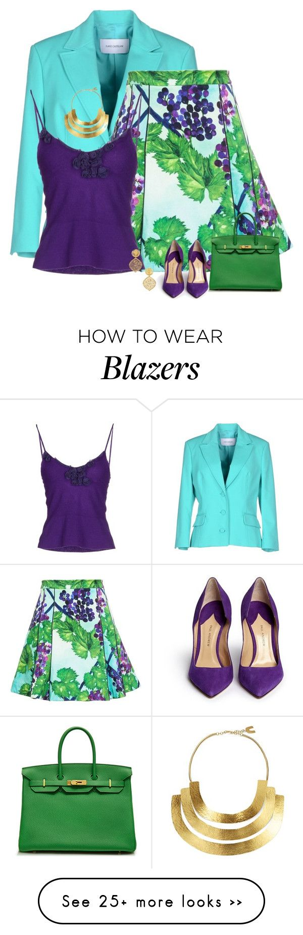 """grapes"" by divacrafts on Polyvore featuring Flavio Castellani, Isolda, Ermanno Scervino, Paul Andrew, Hermès, Hervé Van Der Straeten, Kenneth Jay Lane and Original"