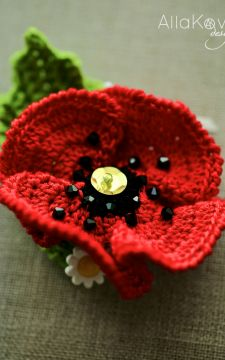 Flower Crochet Headband Red