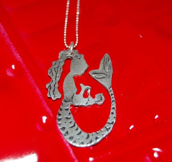 Mermaid Mother and Child Necklace by ohanabylea on Etsy, $85.00