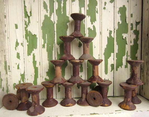 Vintage Wooden Spools Rustic Primitive Home Decor by corrnucopia
