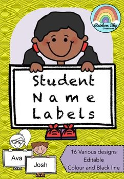 Student Name Labels rab these funky name label kiddies.  Ideal to use for back to school name labels or labelling anything!  16 individual designs in the set. 8 boys and 8 girls in colour and black line.  These labels are editable and ready to go!  ~ Rainbow Sky Creations ~