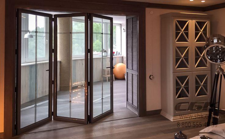 Алюминиевые складные двери-гармошки Schuco