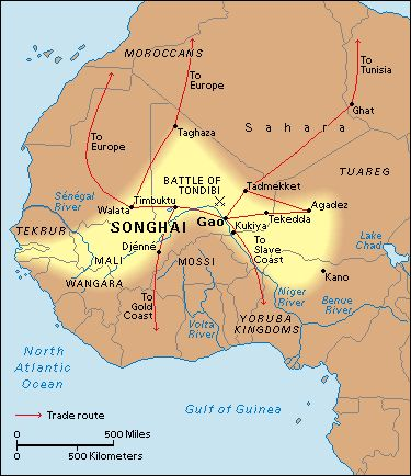 The Songhay Empire (1468-1591), also written as Songhai, was an empire in West Africa centred on the Niger River. It was one of the largest and most advanced states of its time. Timbuktu, then in i...