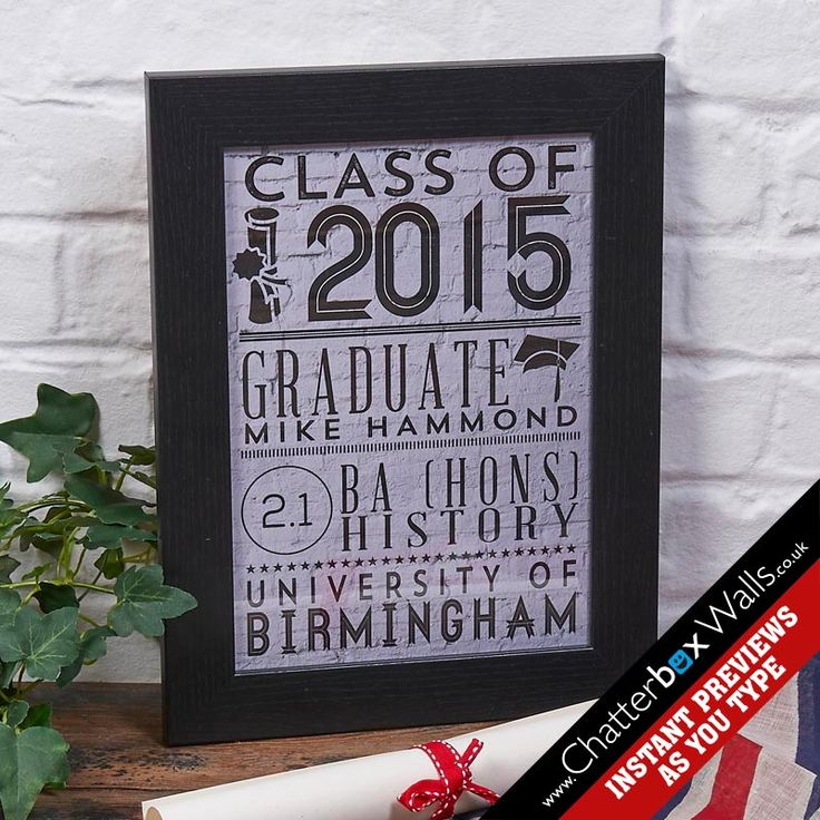Personalised Class of 2015 graduation framed print
