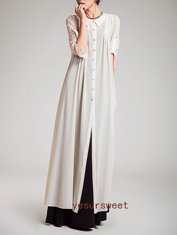 White layered maxi dress sleeved long chiffon by yesURsweet