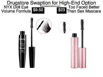 The NYX Mascara is a favorite of mine. Click through to see my archived drugstore dupe pictures