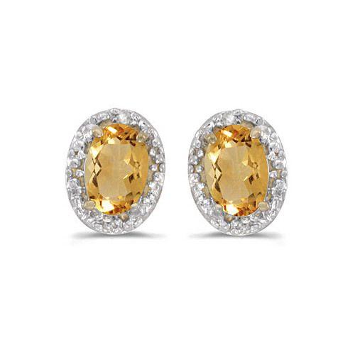 14k Yellow Gold Oval Citrine Diamond Earrings Ceylon Gemstones Pinterest And