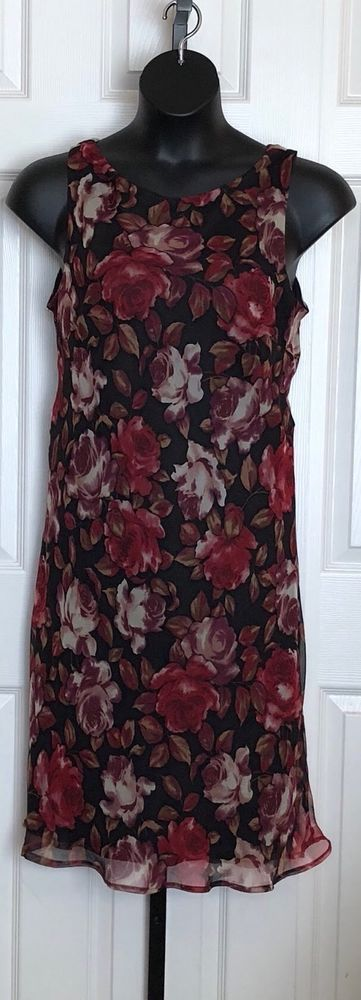 Dressbarn Floral Chiffon Dress Size 14  | eBay