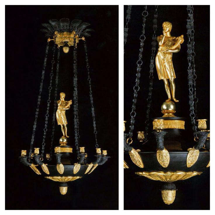 Heuvelmans Interiors handmade gilt bronze chandelier Empire style ref.CHAND.903A