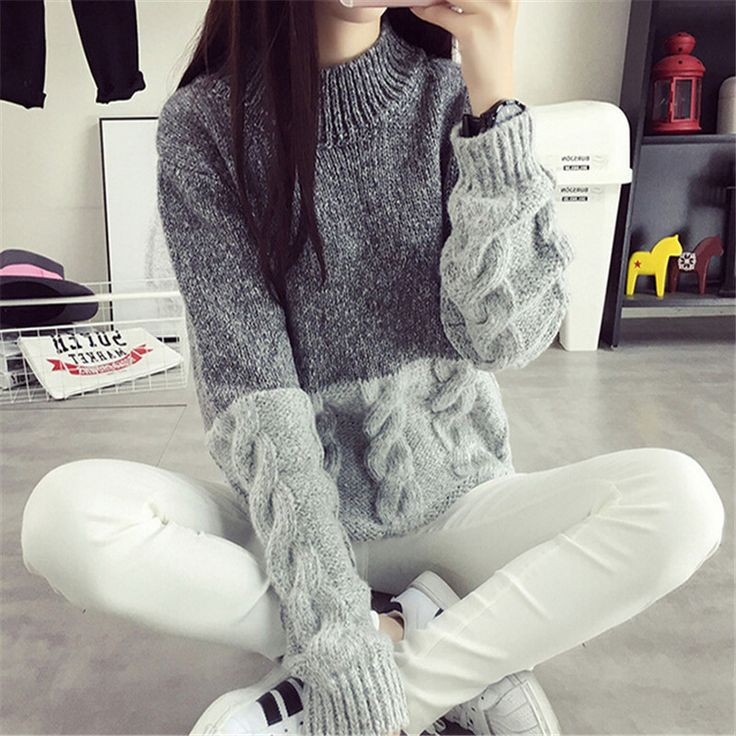 Women New Korean Twist knitting Sweater Contrast Color Design Crop Sweater Pullover Spring Autumn Winter Jumper Like it? Visit our store