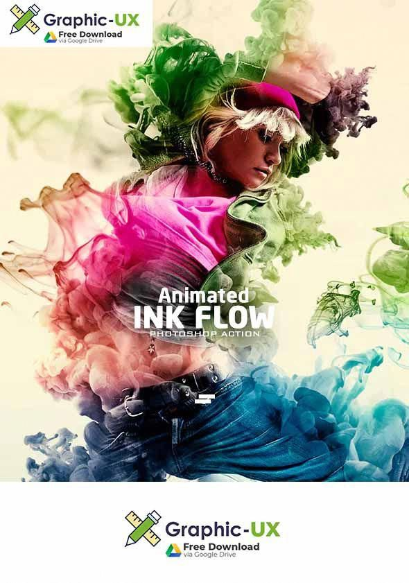 Ink Flow Animation Photoshop Action Free Download Graphicux