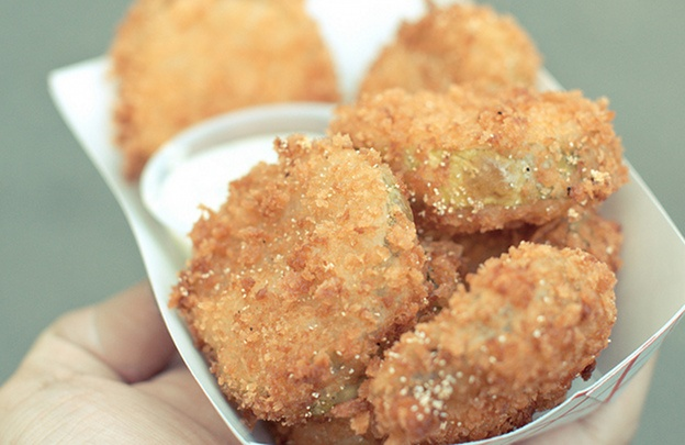Fried Pickles with Cilantro Garlic Ranch
