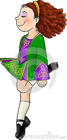 muchacha de baile irlandés en los zapatos duros tradicionales