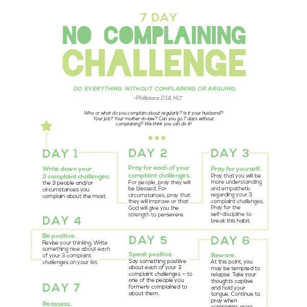 7 Day No Complaining Challenge Complaining Quotes Stop
