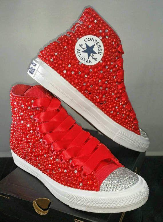 ca41d2d6784 Wedding Converse- Bridal Sneakers- Bling & Pearls Custom Converse ...