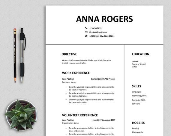 Resume Template Word First Job Cv Template One Page Resume High School Student Teenagers Prof Resume Template Word One Page Resume One Page Resume Template