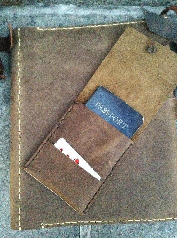 ID passport holder - leather passport wallet with ID pocket and back boarding pass holder - leather travel organizer