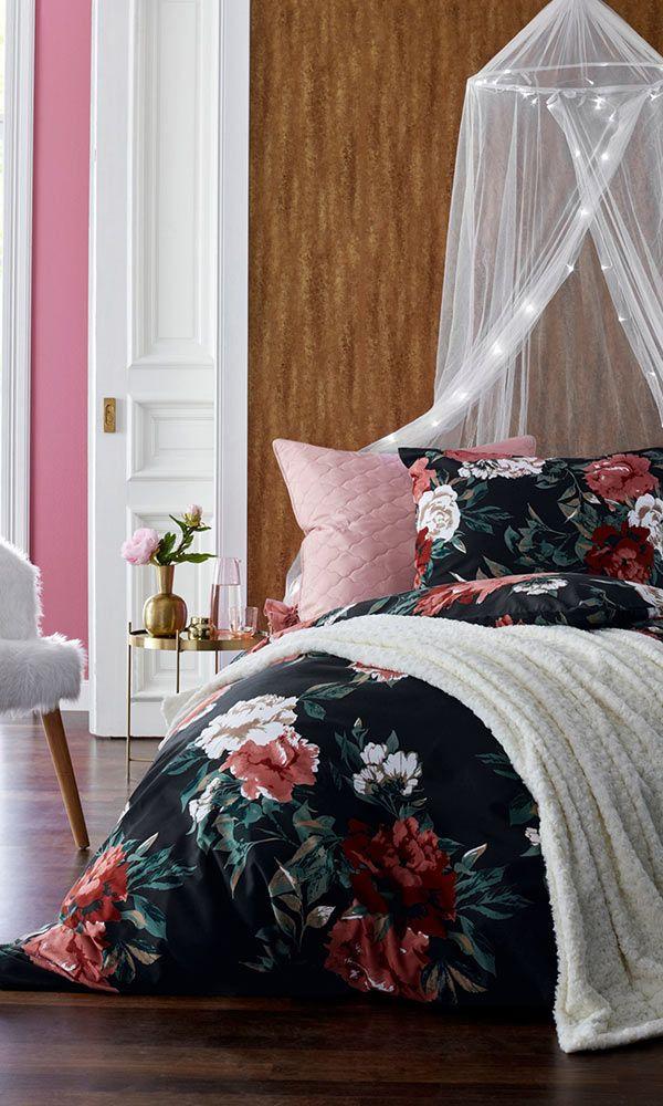 Diese Bettwasche Sorgt Fur Glamour Im Schlafzimmer Schwarz Microfaser Bettwasche Bett Zimmer