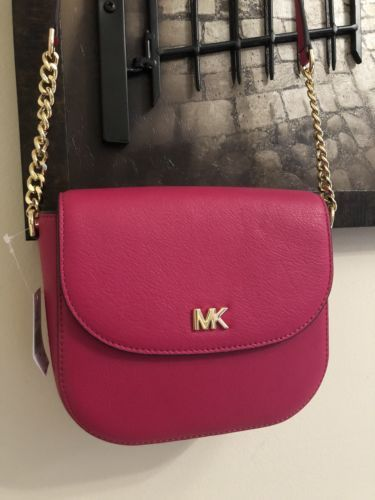 a90999fb404a Michael Kors Mott Half Dome Leather Crossbody Bag Ultra Pink Small MSRP:$148