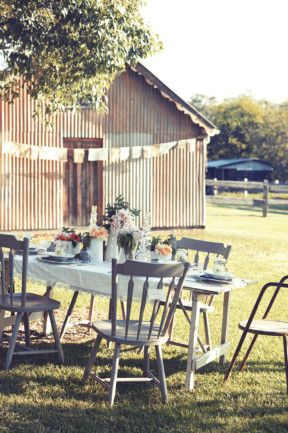 10 Country #wedding decorating ideas - Add quirky touches like simple glass jars containing single blooms, vintage plates and an assortment of different shapes vessels for floral arrangements.  As featured in Country Style magazine. Photo, Corrie Bond. Styling, Lara Hutton. www.homelife.com.au