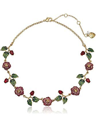 "Betsey Johnson ""Garden of Excess"" Pave Rose Collar Necklace, 16"" + 3"" Extender ❤ Betsey Johnson Jewelry"