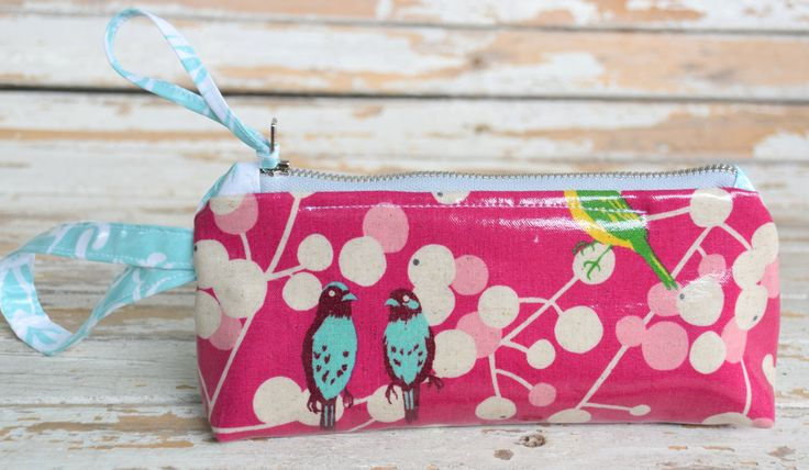 Wristlet-- Pink Bird by NelleBushBags on Etsy
