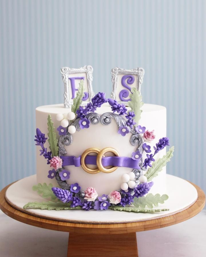 Lavender engagement Cake  by asli - http://cakesdecor.com/cakes/272434-lavender-engagement-cake